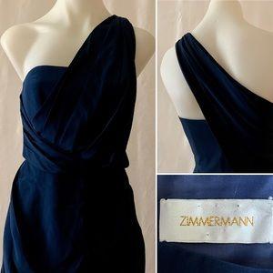ZIMMERMANN 100% SILK One Shoulder Blue Dress